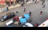 فیلم وحشتناک از حمله یک خودرو به معترضان در آمریکا و شلیک راننده